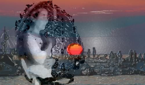 Afternoon Sunset, photo montage/ digital art, ©2013 Michael Dickel