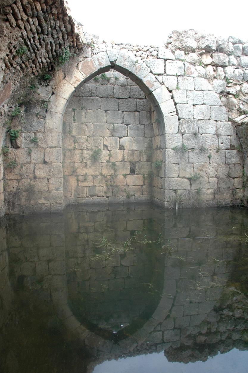 Reflected blocked archway, Nimrod's Castle, Israel. Photo, ©2009 Michael Dickel