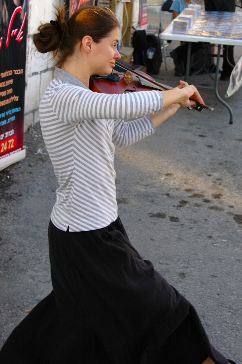 Young, talented street musician, Tzfat, Israel, Klezmer Festival