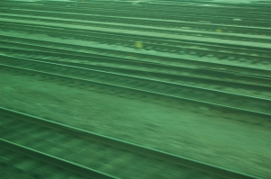 Tracks through a train window, west of Chicago