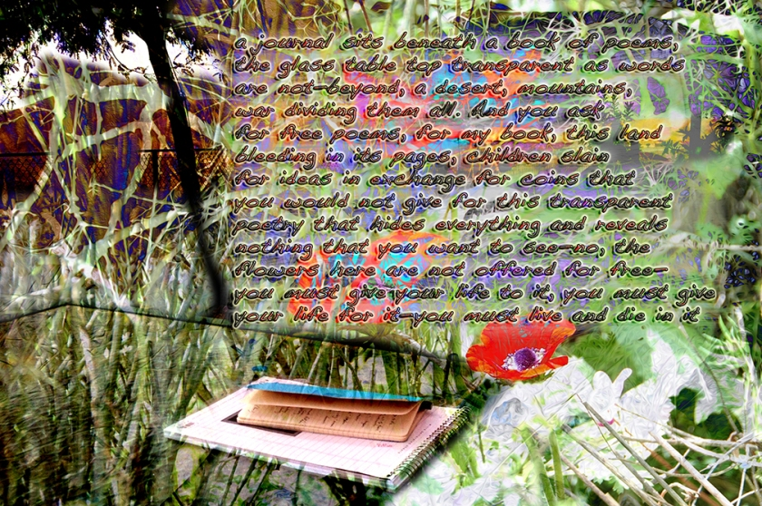 Text and Digital Image ©2015 Michael Dickel; a journal sits beneath a book of poems, the glass table top transparent as words are not—beyond, a desert, mountains, war dividing them all. And you ask for free poems, for my book, this land bleeding in its pages, children slain for ideas in exchange for coins that you would not give for this transparent poetry that hides everything and reveals nothing that you want to see—no, the flowers here are not offered for free— you must give your life to it, you must give your life for it—you must live and die in it