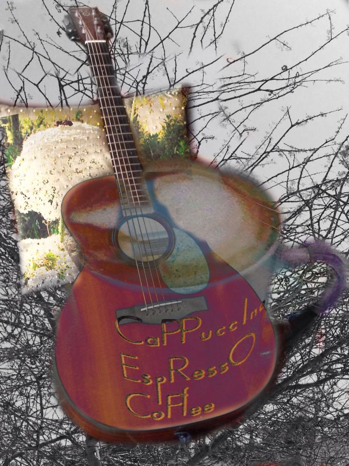Guitar and Coffee Cup digital art from photographs (c)2015 Michael Dickel