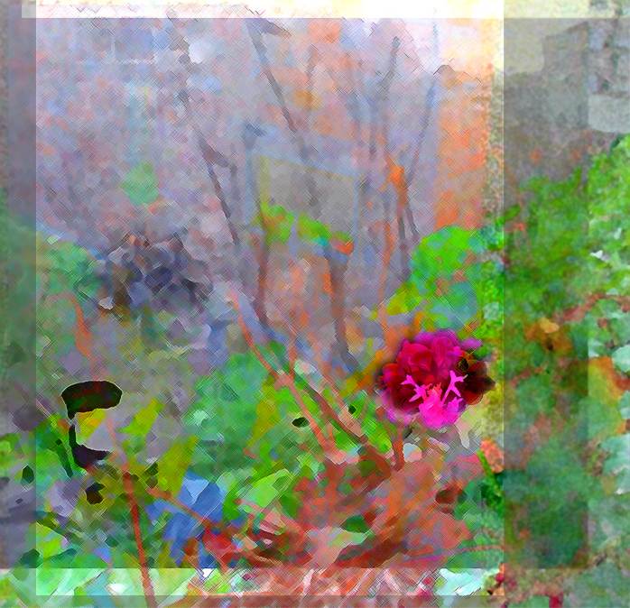 Water-color like image of a pink flower, green leaves, leafless tree trunks in grays in the background