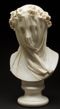 Veiled Lady Raffaelo Monti marble c. 1860 accompanies Michael Dickel's poem, Veiled Lady