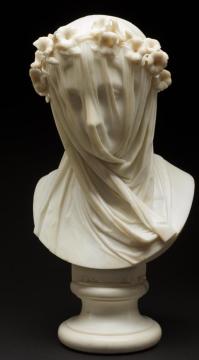 Veiled Lady Raffaelo Monti marble c. 1860 accompanies Michael Dickel's poem, Veiled Lady