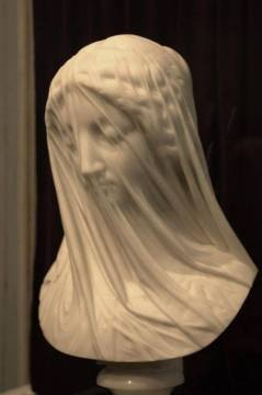 The Veiled Virgin Giovanni Strazza Marble 19th C. accompanies Michael Dickel's poem Veiled Lady