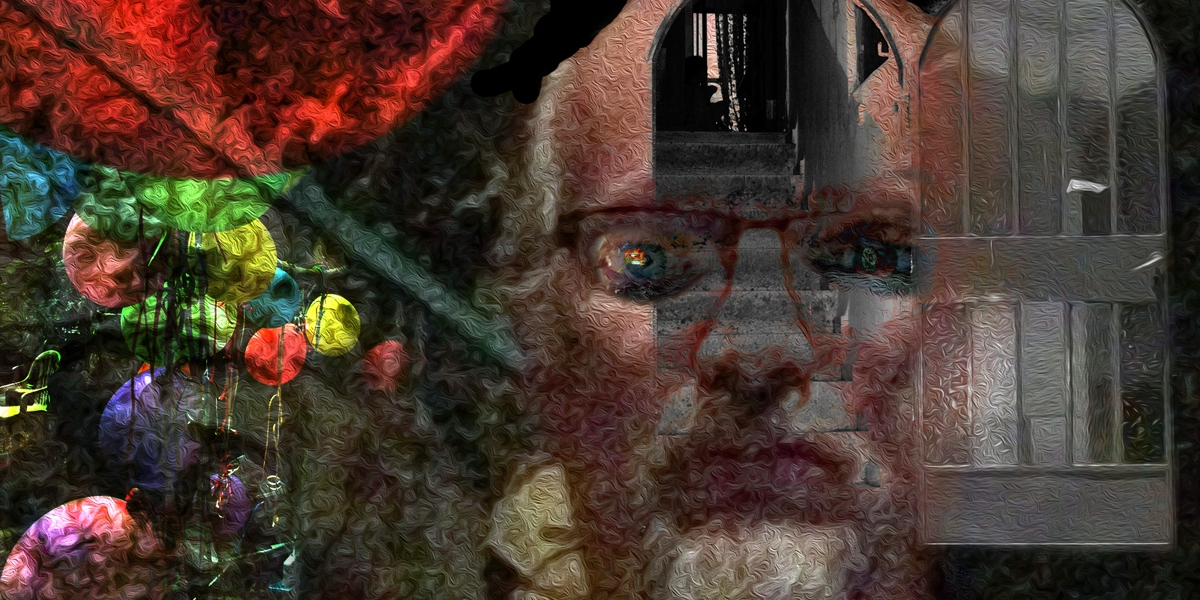 But alive, poem by Michael Dickel, self-portrait age 61, digital art from photographs