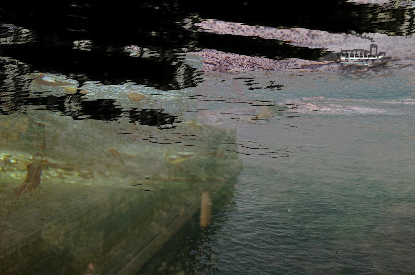 Oil on the Water Digital landscape from photos ©2017 Michael Dickel