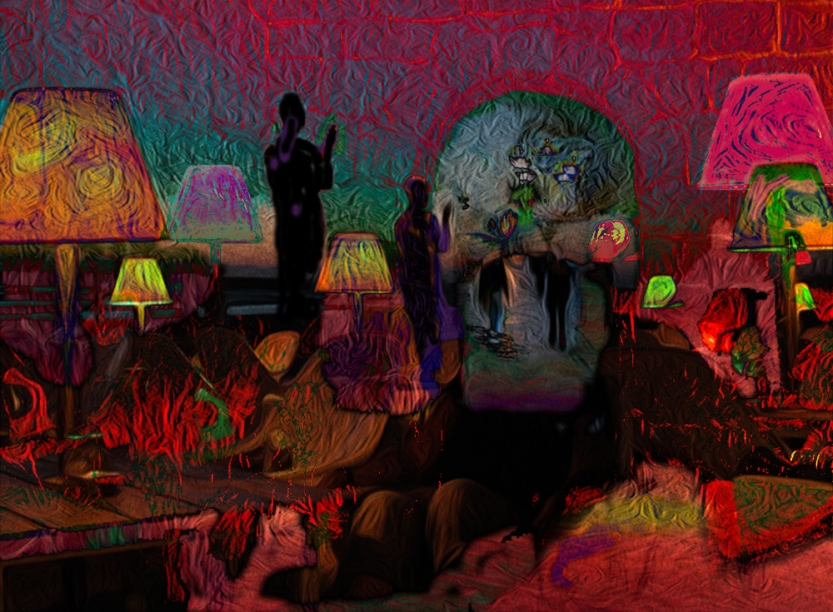The danger and threat of life held at bay in a cave Digital Landscape from Photos ©2017 Michael Dickel