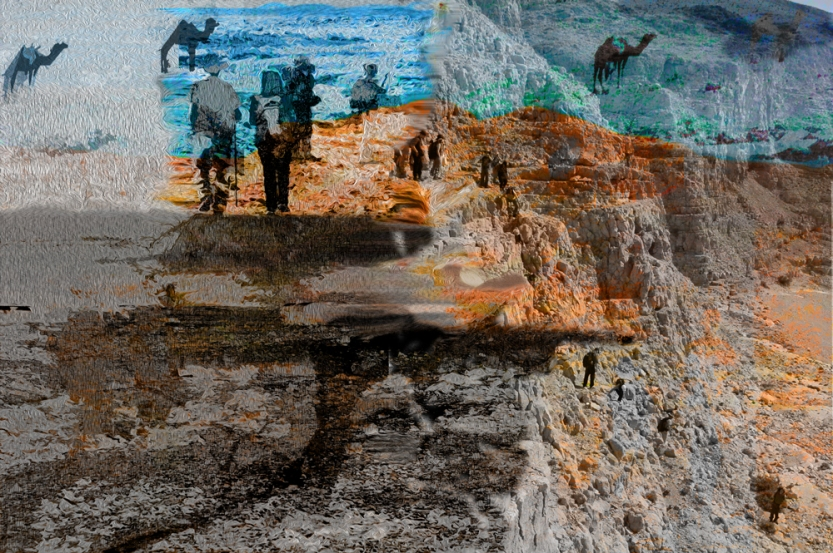 Ledges—Arad Hike 2010 Digital landscape from photos ©2017 Michael Dickel