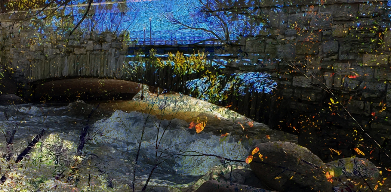 Dream Bridge digital landscape from photos ©2017 Michael Dickel
